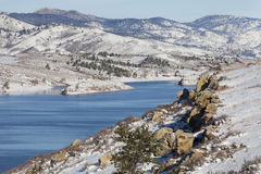 vinter för lakeberglandskap Royaltyfri Foto