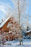 vinter för landsdagby Royaltyfria Bilder