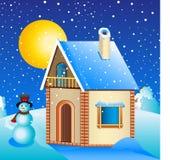 vinter för landshus royaltyfri illustrationer