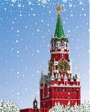 Vinter för Moskva Kremlin.Russian. Iillustration Stock Illustrationer