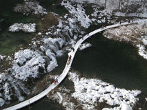 vinter för plitvice för croatia lakesliggande Fotografering för Bildbyråer