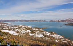 vinter för sikt för greece lakeplastiras thessaly Royaltyfri Fotografi