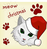 vinter för snowflake för snow för pott för kattjulillustration vektor illustrationer