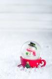 vinter för snowman för snow för bakgrundsjuljordklot Royaltyfri Fotografi