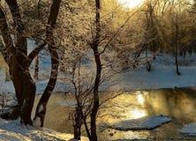 vinter för solnedgång för aftonberg s ural Royaltyfri Fotografi