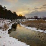 vinter för solnedgång för aftonberg s ural Arkivbild