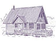 vinter för tid för stugabergsnow trävit vektor illustrationer