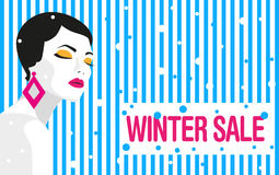 vinter för vektor för bakgrundsförsäljningstext baner fashion flickan Djärv minsta stil Popkonst royaltyfri illustrationer