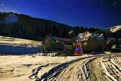 vinter för tree för granskoghus Arkivfoto