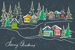 vinter f?r gata f?r liggandenattfolk g? Mångfärgade hus för karamell, granar stock illustrationer