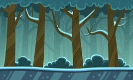 Vinter Forest Cartoon Background Arkivfoto
