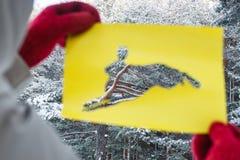 Vinter Forest Through Hare Stencil Cut ut från gulingpapper Begrepp av Forest Dwellers Royaltyfri Foto