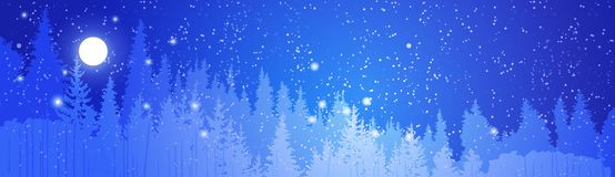 Vinter Forest Landscape Over Night Sky mycket av starthorisontalbanret royaltyfri illustrationer
