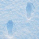 VINTER: Fotsteg i snön royaltyfri bild