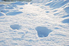 VINTER: Fotsteg i snön på vägen Arkivbild