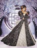 vinter för drottning för makeup för idérikt mode för konst hög key Arkivfoto