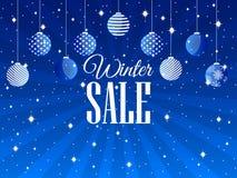 vinter för vektor för bakgrundsförsäljningstext Bakgrund med julbollar och snöflingor vektor Arkivbild