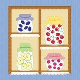 Vinter hemlagade Jelly Cherry Apple Strawberry Jam Royaltyfria Bilder