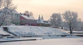 Vinter i aftonen Minsk Arkivbild