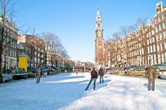 Vinter i Amsterdam Nederländerna Royaltyfri Bild
