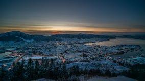 Vinter i Bergen, Norge Arkivfoton