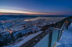 Vinter i Bergen, Norge Arkivbild