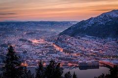 Vinter i Bergen, Norge Royaltyfria Foton