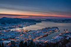 Vinter i Bergen, Norge Arkivfoto