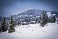 Vinter i Brasov Rumänien arkivbild