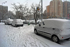 Vinter i Bucharest Royaltyfria Bilder