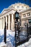 Vinter i Bucharest - konserthall Arkivfoton