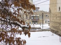 Vinter i den Baku cituen Royaltyfri Foto