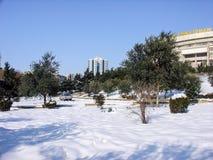 Vinter i den Baku cituen Royaltyfri Fotografi