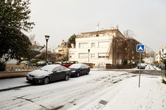 Vinter i den franska staden av Strasbourg Arkivbilder
