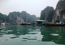 Vinter i den Halong fjärden, Vietnam, Asien Arkivbild