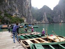 Vinter i den Halong fjärden, Vietnam, Asien Royaltyfria Foton