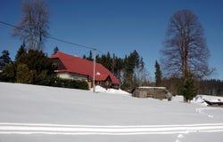 Vinter i denSilesian regionen för berg Arkivfoto