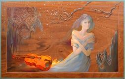 Vinter i Douarnenez Stående av härliga kvinnor som drömmer i fantasimiljön Olje- målning på trä Royaltyfria Bilder