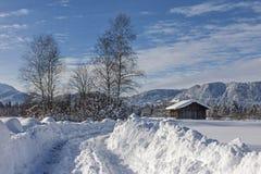Vinter i Isarwinkel nära dåliga Toelz arkivbild