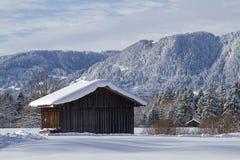 Vinter i Isarwinkel nära dåliga Toelz arkivfoton