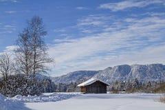 Vinter i Isarwinkel nära dåliga Toelz arkivfoto