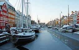 Vinter i Nyhavn, Köpenhamn Royaltyfri Bild