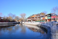 Vinter i Peking Houhai royaltyfri fotografi