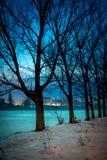 Vinter i Rumänien Bucharest, fryst sjö royaltyfria bilder