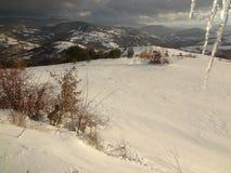 Vinter i Sjenica, Serbien fotografering för bildbyråer
