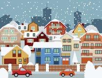Vinter i staden Arkivbild