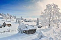 Vinter i Transylvania royaltyfri fotografi