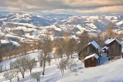 Vinter i Transylvania Rumänien Arkivbilder