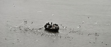 Vinter i Varanasi Arkivbild