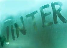 Vinter Inskrift på ett fönster Arkivbilder